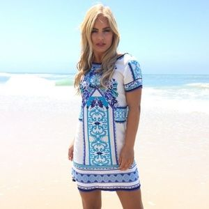 Dainty Hooligan Short Sleeve Blue Print Dress